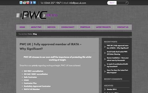 Screenshot of Blog pwc.uk.com - PWC UK LTD | Access Solutions - Building Maintenance & Rope AccessPWC | High Access Solutions | Rope Access Window Cleaning - captured Oct. 2, 2014