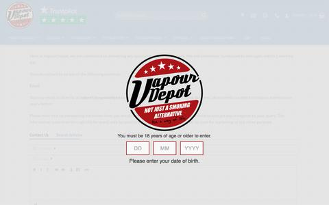 Screenshot of Contact Page vapourdepot.com - VapourDepot Contact Us and Contact Form page - captured Aug. 27, 2018
