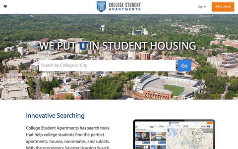 Screenshot of Home Page collegestudentapartments.com - College Apartments and Sublets | College Student Apartments - captured July 20, 2018