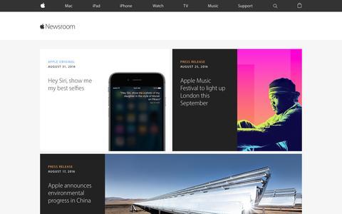 Screenshot of Press Page apple.com - Newsroom - Apple - captured Sept. 1, 2016