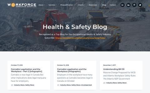 Screenshot of Blog workforcecompliancesafety.ca - Health & Safety Blog | Workforce Compliance Safety Ltd. - captured Oct. 18, 2018