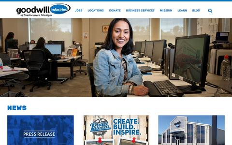 Screenshot of Press Page goodwillswmi.org - Goodwill Industries of Southwestern Michigan. - News - captured Sept. 24, 2018