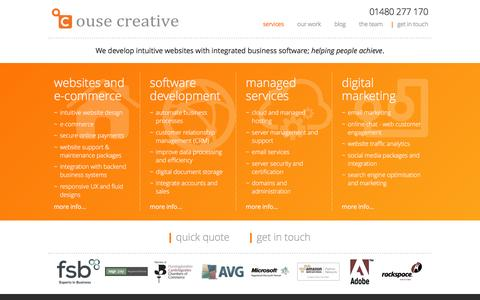 Screenshot of Home Page ousecreative.co.uk - services - Ouse Creative - captured Jan. 24, 2016