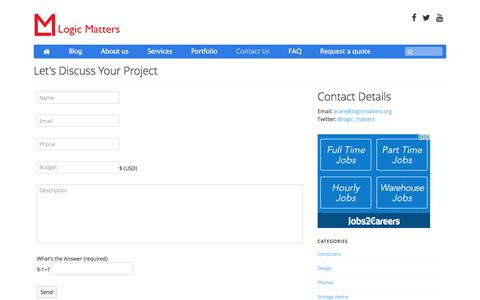 Screenshot of Contact Page logicmatters.org - Logic Matters - Customer Service - Contact Us - captured May 22, 2017