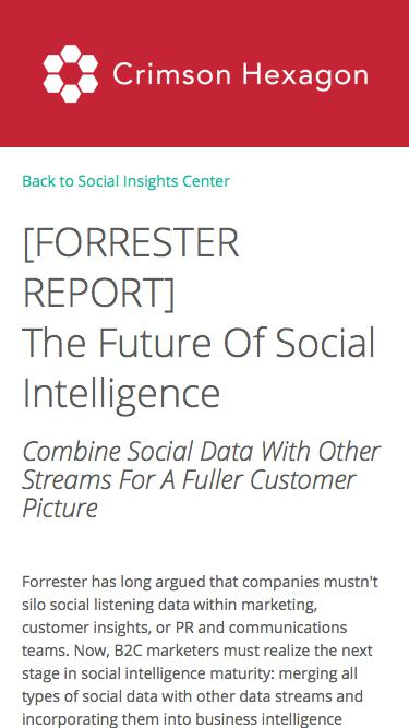 [FORRESTER REPORT]  The Future Of Social Intelligence | Crimson Hexagon