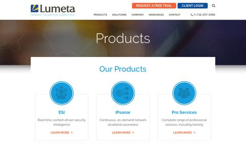 Screenshot of Products Page lumeta.com - Products | Lumeta - captured Feb. 2, 2016