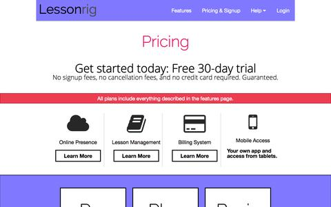 Screenshot of Pricing Page lessonrig.com - Pricing - Lessonrig - captured Sept. 29, 2014