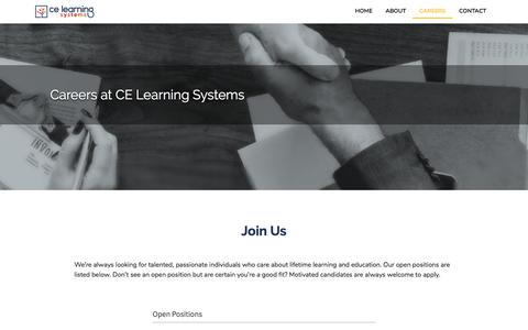 Screenshot of Jobs Page celearningsystems.com - CE Learning Systems - captured Sept. 25, 2018