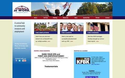 Screenshot of Home Page americaatwork.org - America At Work | Removing Workforce Barriers - captured Oct. 4, 2014