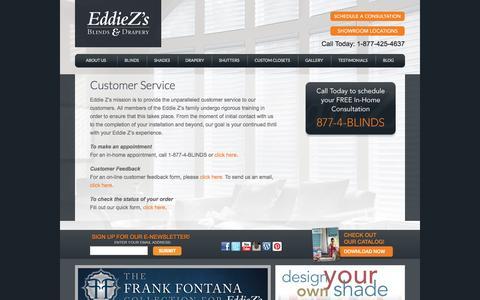 Screenshot of Contact Page eddiezs.com - Customer Service - captured Nov. 1, 2014