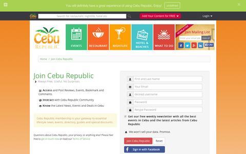 Screenshot of Signup Page ceburepublic.com - Signup Form : Cebu Republic - captured Dec. 7, 2015