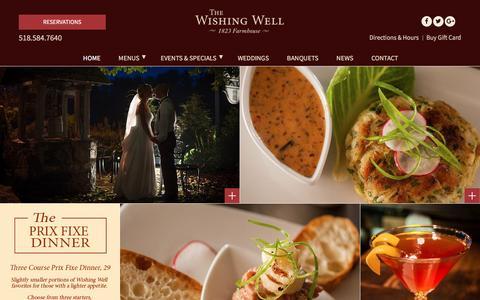 Screenshot of Home Page wishingwellrestaurant.com - Saratoga Springs Restaurant - Enjoy Fine Dining In Saratoga at The Wishing Well Restaurant! - captured Feb. 28, 2016