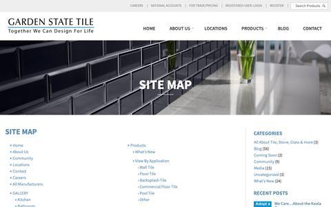 Screenshot of Site Map Page gstile.com - Site Map | Garden State Tile - captured Sept. 27, 2018