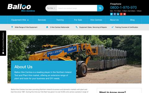 Screenshot of About Page balloohire.com - About Us | Balloo Hire | Tool & Plant Hire Northern Ireland - captured Nov. 13, 2018