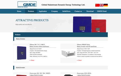 Screenshot of Products Page global-mde.com - GMDE - captured Oct. 27, 2014