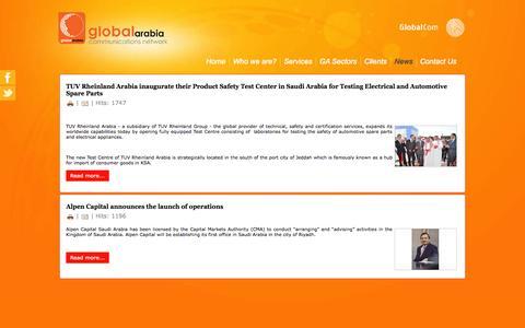 Screenshot of Press Page globalarabia.com - News - captured Oct. 8, 2014