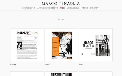 Screenshot of Press Page marcotenaglia.com - MARCO TENAGLIA - Press - captured Jan. 9, 2016