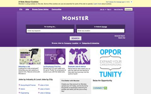 Screenshot of Home Page monster.ie - Find Jobs. Build a Better Career.  Find Your Calling. | Monster.ie - captured Sept. 22, 2014