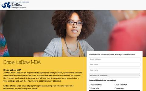 Screenshot of Landing Page drexel.edu - LeBow MBA - captured Feb. 23, 2017