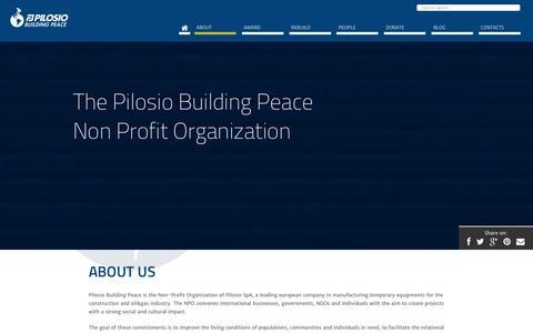 Screenshot of About Page pilosioaward.com - The Pilosio Building Peace Non Profit Organization : PilosioAward - captured Jan. 28, 2016