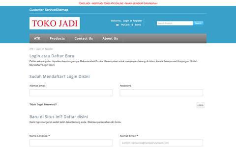 Screenshot of Login Page tokojadi.net - login - tokojadi.net - captured Sept. 30, 2014