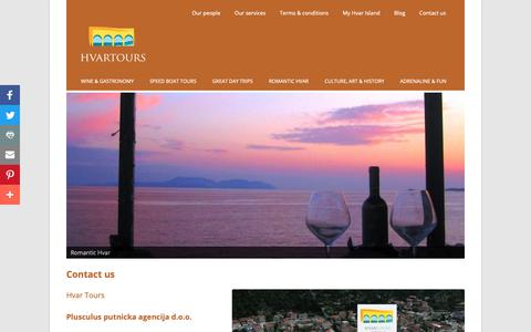 Screenshot of Contact Page hvartours.com - Contact us - Hvar Tours - captured Sept. 28, 2018