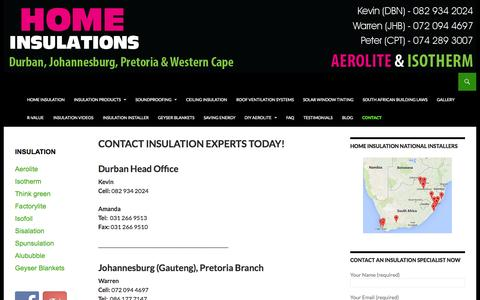 Screenshot of Contact Page homeinsulations.co.za - Contact us | Durban, Johannesburg and Pretoria | Insulation Experts - captured Sept. 19, 2014