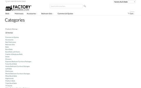 Screenshot of Site Map Page factorybunkbeds.com - Site Map - captured Dec. 14, 2018