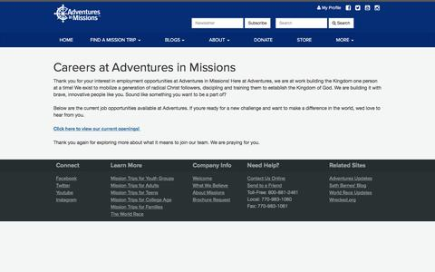 Screenshot of Jobs Page adventures.org - Adventures Careers - captured March 10, 2017