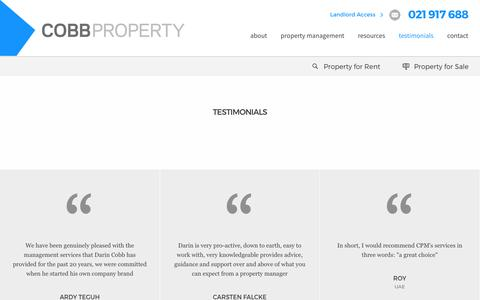 Screenshot of Testimonials Page cobbproperty.co.nz - Introduction of Property Investment - captured Aug. 10, 2017
