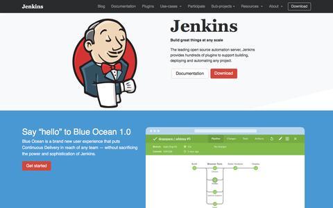 Screenshot of Home Page jenkins.io - Jenkins - captured April 8, 2017