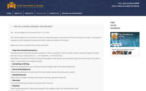 Screenshot of FAQ Page eliteshuttersandblinds.com - FAQsElite Shutters & Blinds - Shutters & Blinds for Your Home or Office - captured Sept. 8, 2016