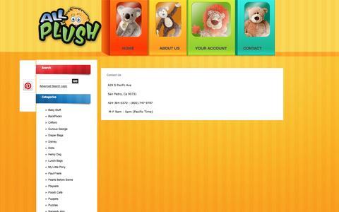 Screenshot of Contact Page allplush.com - Contact Us - captured April 9, 2017