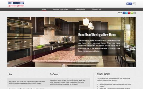 Screenshot of drhorton.com - Benefits of Buying a New Home | D.R. Horton - captured March 19, 2016