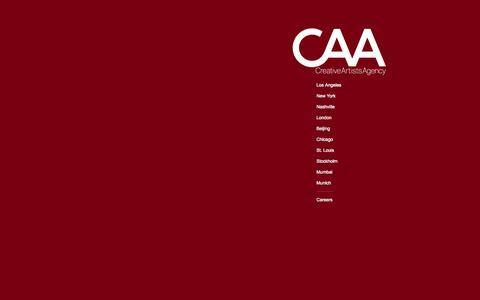 Screenshot of Home Page caa.com - Creative Artists Agency - captured Jan. 15, 2015