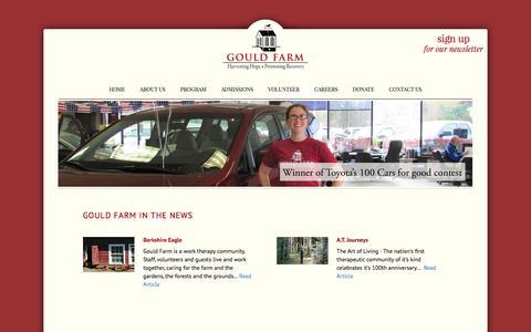 Screenshot of Press Page gouldfarm.org - Gould Farm in the News | Gould Farm - captured Dec. 12, 2015
