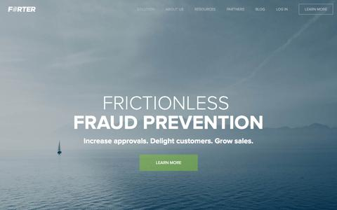 Screenshot of Home Page forter.com - Forter - Fraud Prevention - captured Nov. 10, 2015