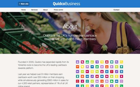 Screenshot of About Page quidco.com - About | Quidco Business - captured July 24, 2016