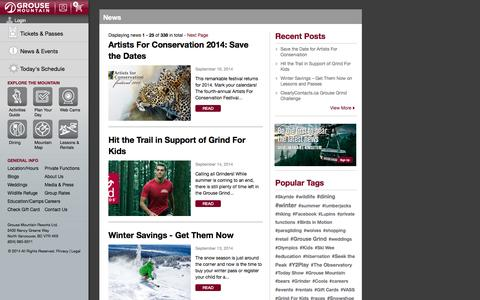 Screenshot of Press Page grousemountain.com - Grouse Mountain - The Peak of Vancouver - captured Sept. 25, 2014