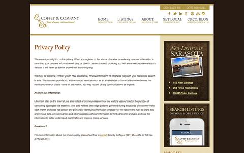 Screenshot of Privacy Page insarasotarealestate.com - Privacy Policy - captured Nov. 3, 2014