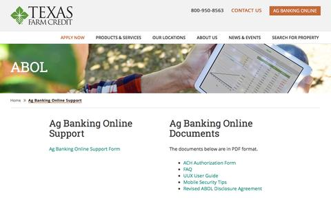 Screenshot of Support Page texasfcs.com - Ag Banking Online Support | Texas Farm Credit - captured Jan. 25, 2017