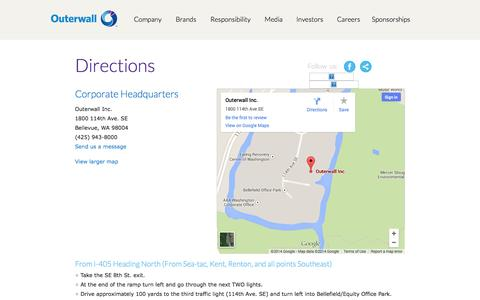 Screenshot of Maps & Directions Page outerwall.com - Directions / Outerwall Inc. - captured Oct. 26, 2014