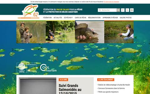 Screenshot of Home Page peche62.fr - Fédération de pêche du Pas-de-Calais | Fédération de pêche du Pas-de-Calais - captured Oct. 16, 2015
