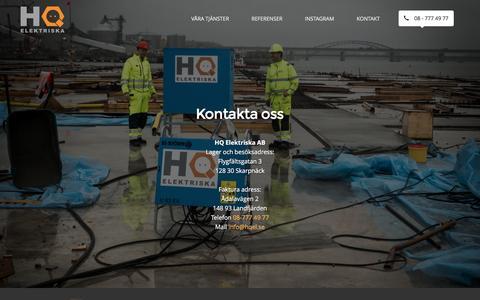 Screenshot of Contact Page hqel.se - » Kontakt - captured Jan. 23, 2016