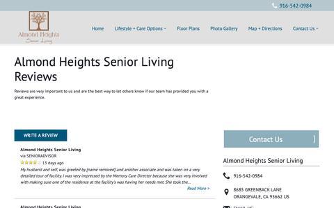 Screenshot of Testimonials Page milestoneretirement.com - Senior Living Resources | Almond Heights Senior Living - captured Oct. 23, 2018