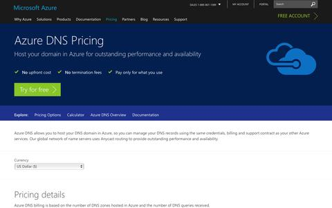 Screenshot of Pricing Page microsoft.com - Pricing - DNS | Microsoft Azure - captured Jan. 5, 2017
