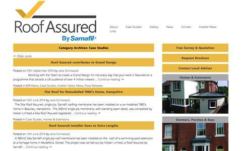 Screenshot of Case Studies Page roofassured.co.uk - Case Studies Archives   Roof Assured by Sarnafil - captured Oct. 6, 2014