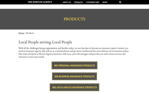 Screenshot of Products Page nortoninsurance.com - Products - The Norton Agency - captured Oct. 18, 2018