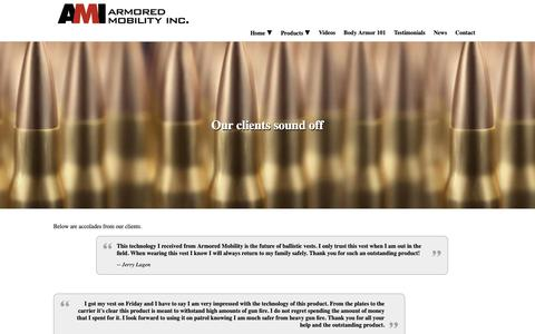 Screenshot of Testimonials Page armoredmobility.com - Testimonials / Ballistic Threat Products - captured Oct. 4, 2018