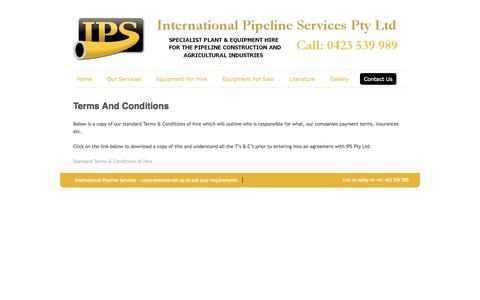 Screenshot of Terms Page int-pipe-serv.com - Terms And Conditions   International Pipeline Services - captured Oct. 6, 2014